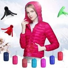 Lightweight soft white duck down warm winter Womens clothing hooded Slim short Winter womens jacket