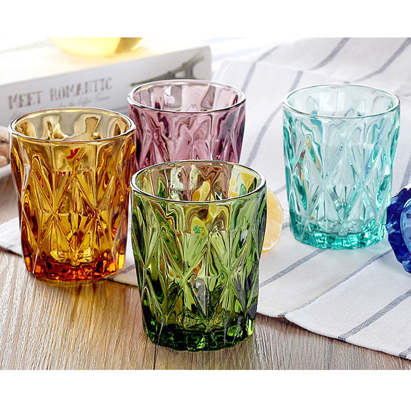 4 pcs water glass vintage Multi Color creative relief home small beverage fruit juice beer cup