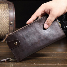 Genuine Leather Man Long Wallet Solid Leather Man Clutch Wallets Cow Leather Man Wallets 1BW21