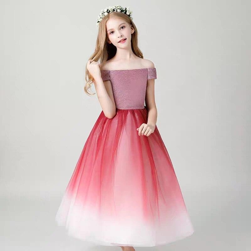 купить Children Girls Fashion Birthday Evening Party Princess Long Mesh Dress Summer Luxury Shoulderless Piano Host Pageant Long Dress недорого