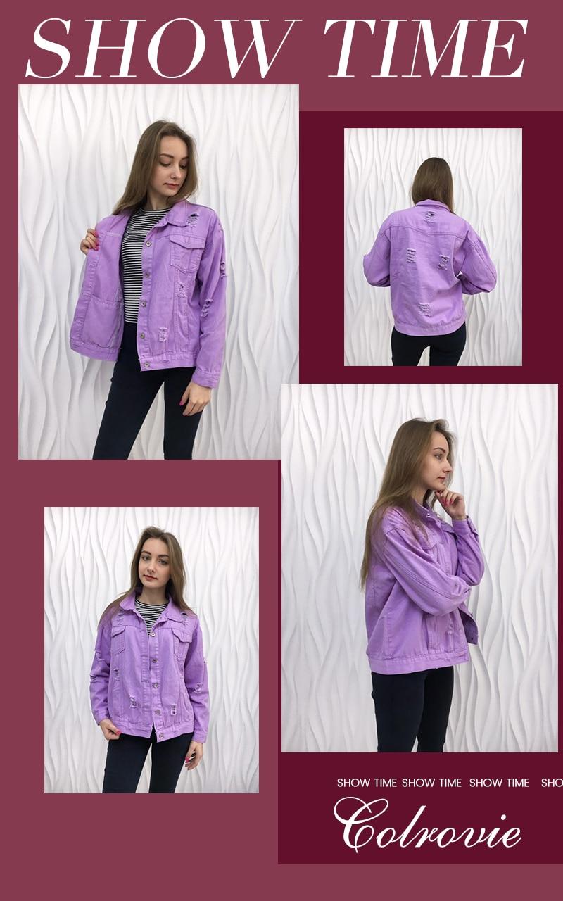 HTB1X0MVU6DpK1RjSZFrq6y78VXa6 COLROVIE Ripped Drop Shoulder Women Denim Jackets Black White Oversize Purple Casual Female Jacket Coat Chic Jacket for Girls