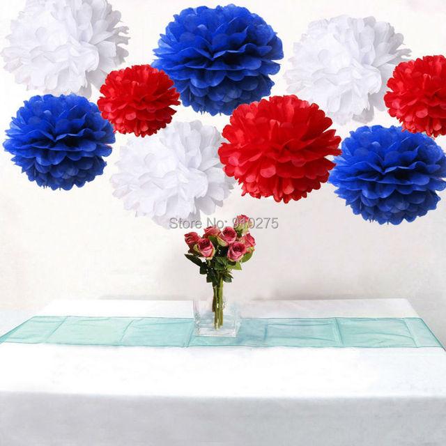 Bulk 18pcs Royal Blue Red White Diy Tissue Paper Pom Poms Wedding Birthday Baby Shower Patriotic