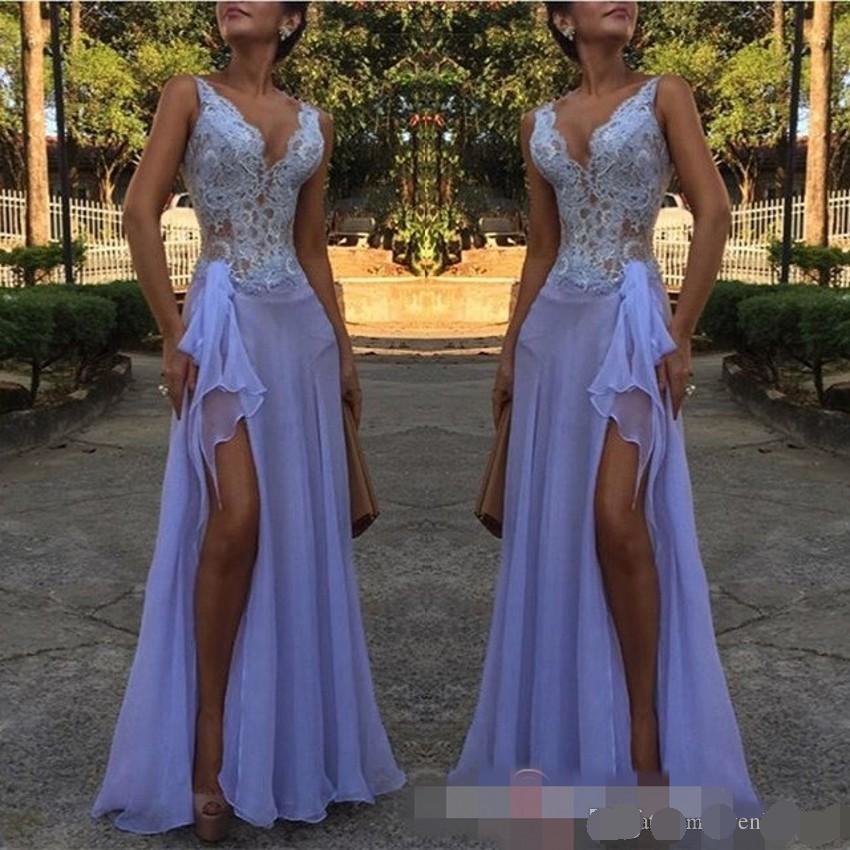Lavender Purple Lace Applique V-Neck Mermaid Evening Dresses Split Special Occasion Dresses Striking Prom evening dress 2019