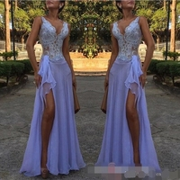 Lavender Purple Lace Applique V Neck Mermaid Evening Dresses Split Special Occasion Dresses Striking Prom evening dress 2019