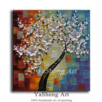 hand made Canvas Art Painting Palette knife Thick Paint 3D Tree Flowers Paintings Modern Home Living Room Decor Wall Art Picture
