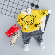 ZWXLHH 2019 New Style Baby Boy Girls Clothing Sets Children Kids Clothes Suit Toddle Bear Head T Shirt Pants Casual Suit humor bear girl dress tassel style girls clothes t shirt pants kids clothing set girls clothing sets baby kids clothes