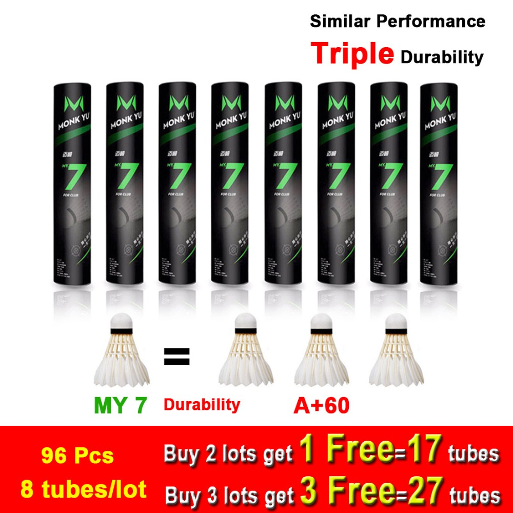 8tubes lot Badminton Shuttlecock MY7 Durability 1 3 A 60e Goose Feather Flying Stability Durable Cost