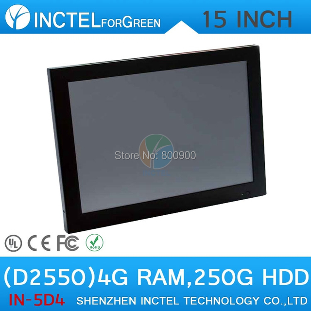 "Windows All in One touchscreen PC with HDMI 15""  2mm ultra thin LED panel Intel Atom D2550 Dual Core 1.86Ghz 4G RAM 250G HDD"