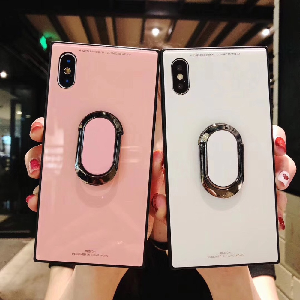 Square Fashion Classic Phone Case For iPhone XS MAX XR X Ultra 6 6s 7 8Plus Luxury Tempered Glass Case With Stand Upscale Coque