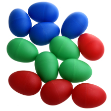 HOT 12x Egg Maracas Plastic Percussion Music Shakers Color: Blue (4 pieces), red pieces) and green