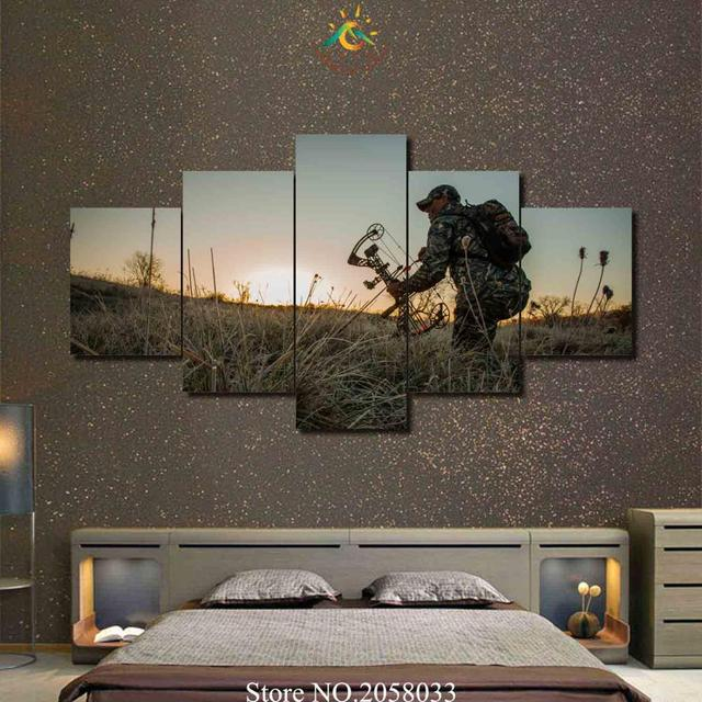 3 4 5 Pieces Cool Soldiers Hunting HD Printed Painting Wall Art Home Decor