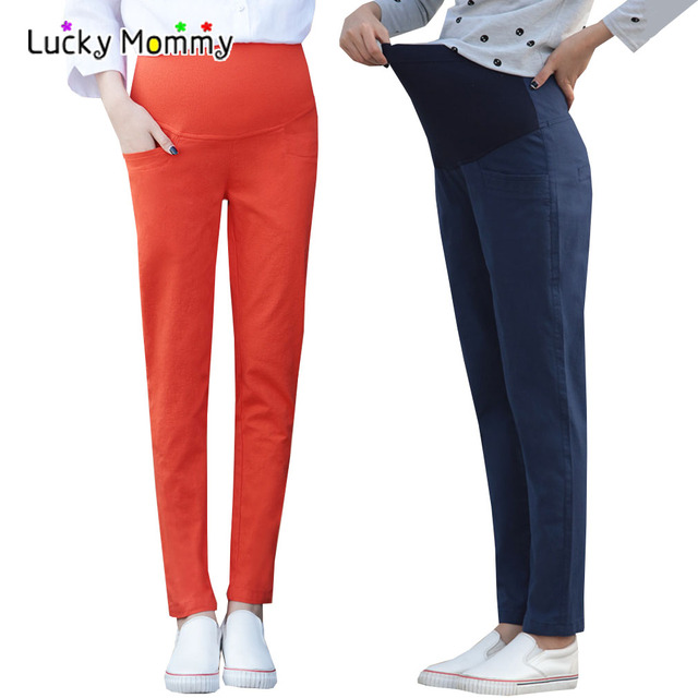 New Spring Stretch Cotton Linen Straight Maternity Pants High-waisted Maternity Clothes for Pregnant Women Ropa Premama Clothing