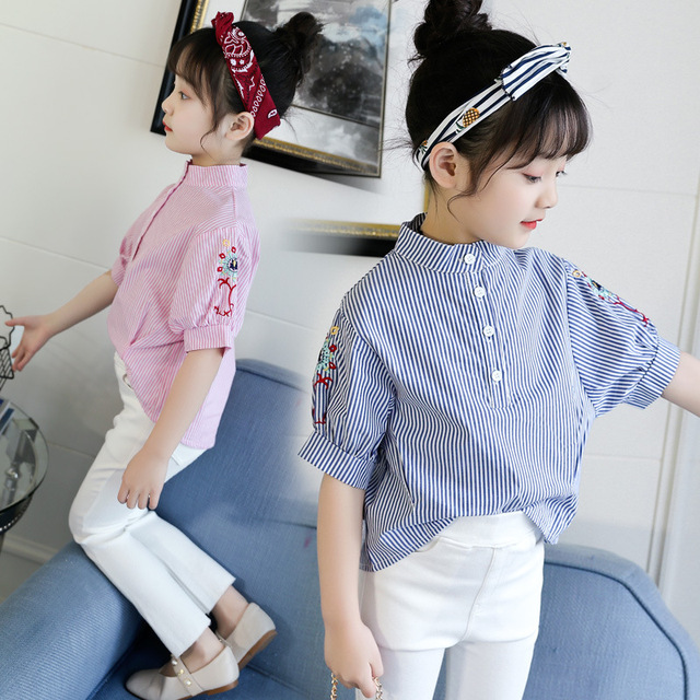 2018 Summer Fashion Children Girls Tops Button Design Pullover