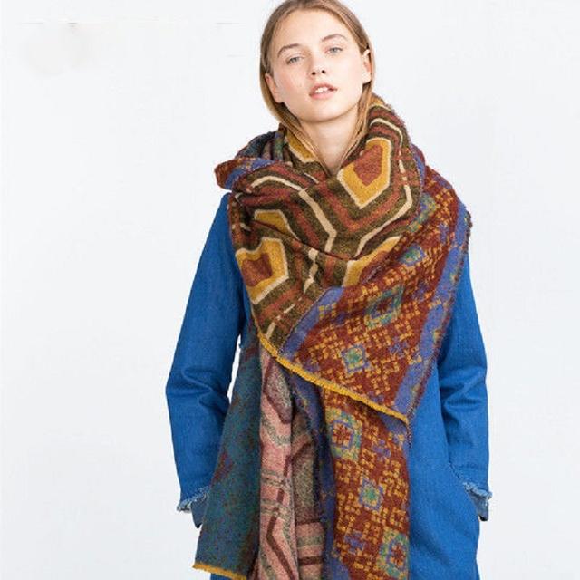 Toque de Cachemira Bufanda Tribal Azteca de La Bufanda Étnica de las mujeres Frayed Manta de Gran Tamaño Patrón Geo Cuadrados Bufanda de Invierno