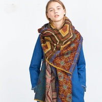 Women's Cashmere Feel Scarf Ethnic Aztec Tribal Scarf Frayed Oversized Blanket Geo Pattern Square Scarves For Winter