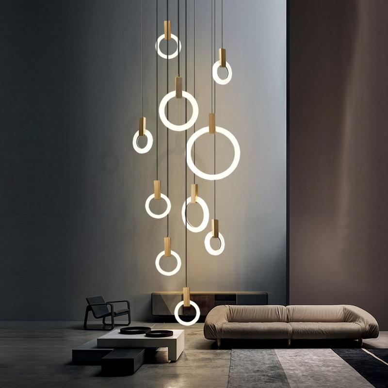 lampe suspendue annulaire en bois design moderne design led luminaire d interieur ideal pour une salle a manger un bar ou des escaliers