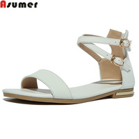 Asumer 2017 New Arrive Women Sandals Fashion Genuine Leather Buckle Summer Sandals Simple Solid Colors Leisure