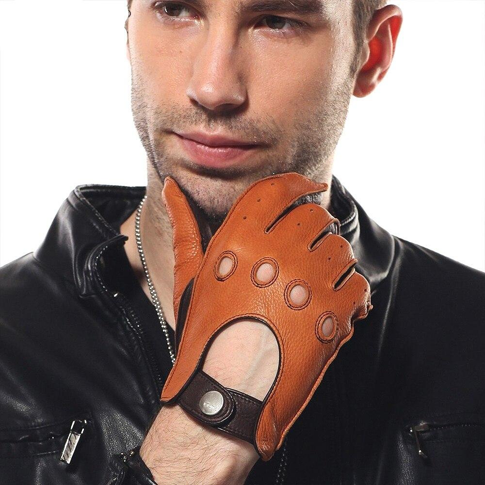 Haute qualité en cuir véritable hommes gants luxueux respirant conduite Deerskin gants poignet boucle plein doigt sans doublure EM002W