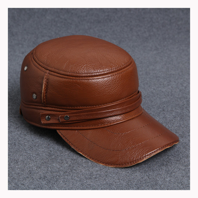 Fashion sheepskin leather hat cadet cap hat for man genuine leather hat earprotection hat   B-0567