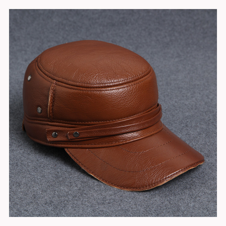 Fashion sheepskin military hat cadet cap for man genuine leather earprotection B-0567