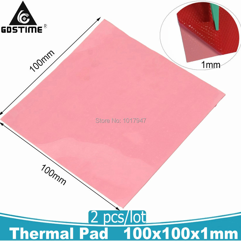2pcs lot Pink Silicone Thermal Pad 100mm x 1mm Thick