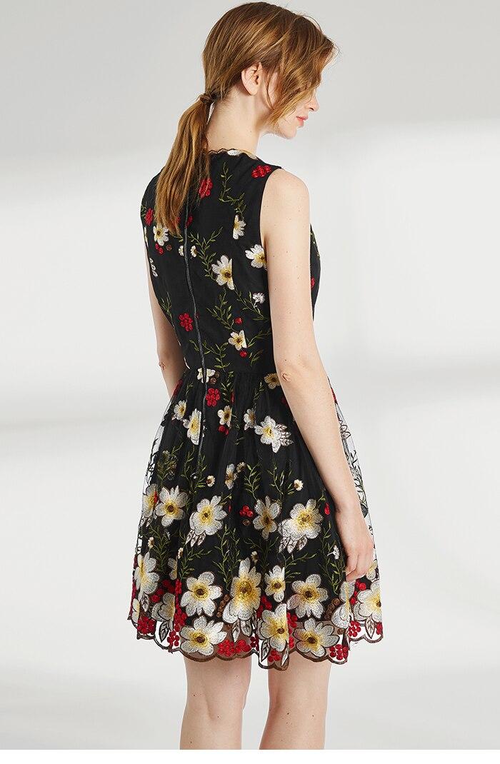 De Femmes Mode V Luxe Manches Profonde Sans Brodé Gamme Robe Taille Haut Noir Marque cou Fleurs Haute Floral dqEwUd