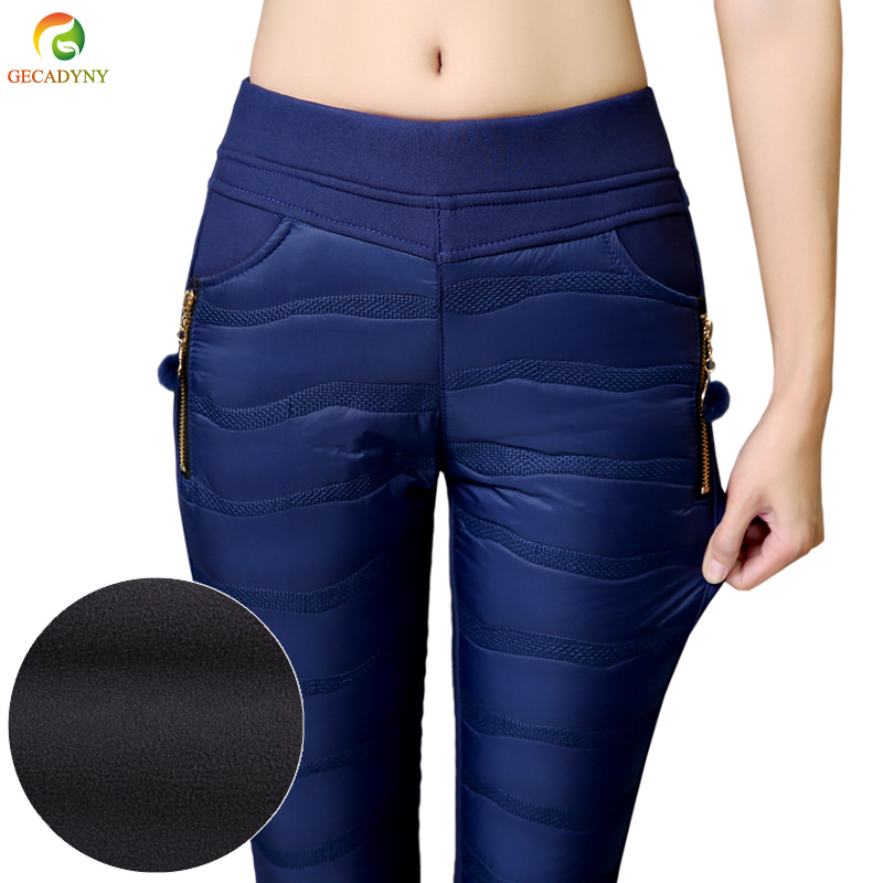 Plus Size S-4XL Women Mid Waist Pants Thick Down Pants Top Wadded Trousers Winter Slim Warm Female Fashion Padded Velvet Clothes