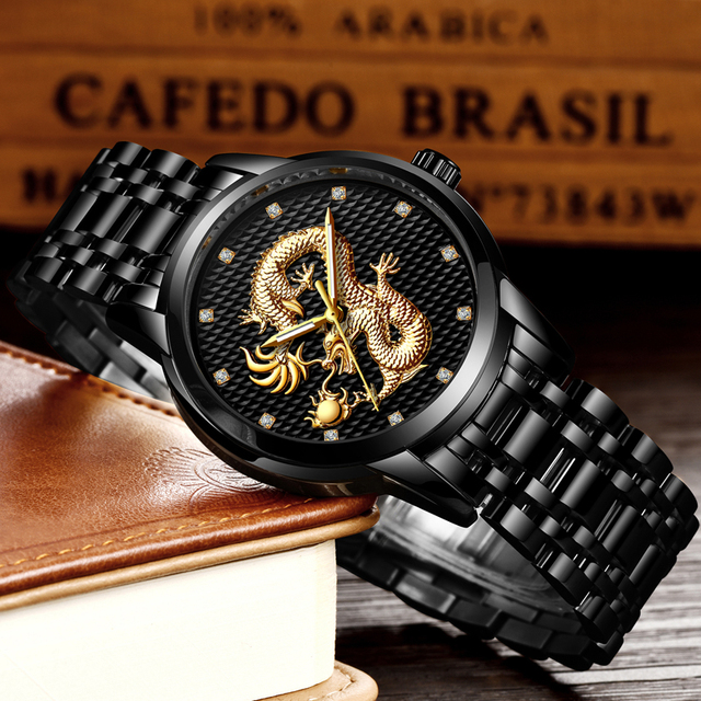 LIGE Men's Luxury Gold Dragon Waterproof Stainless-Steel Quartz Watches 3