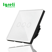 Touch Switch New Type 3 Color Crystal Glass Panel Light Touch Switch LED Indicator Touch Screen