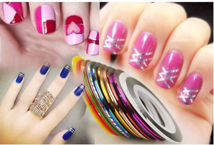 1set10pcs 10 Mixed Color Nail Art Rolls Striping Tape Line Nail Art