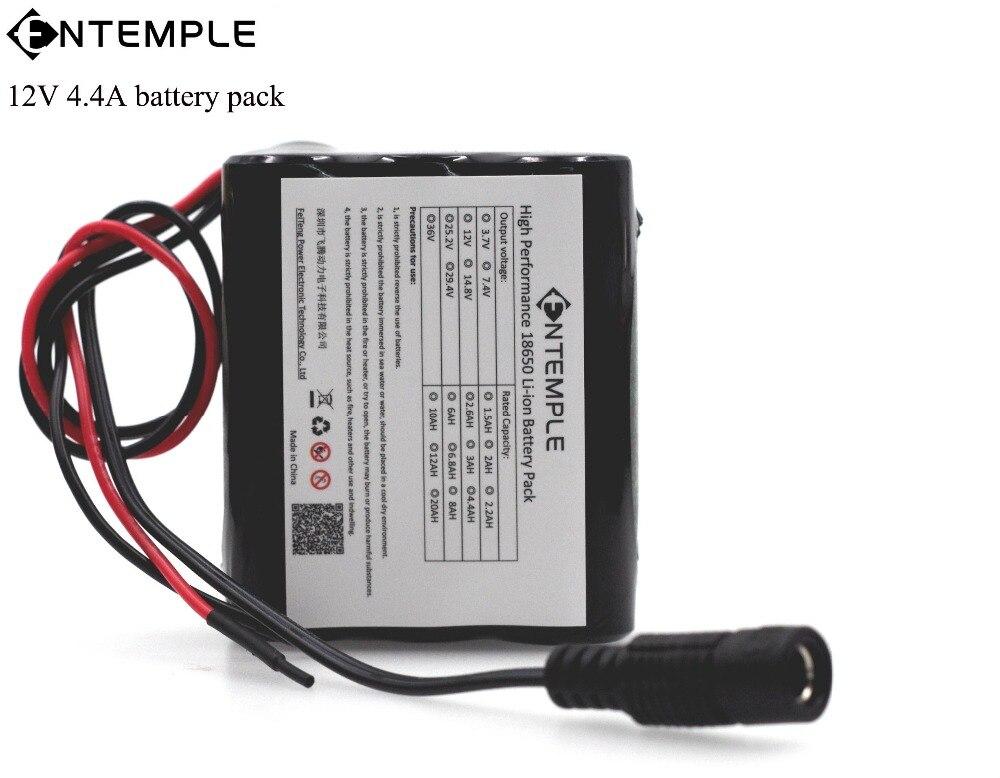 ENTEMPLE 12V 4400mAh 18650 battery pack for <font><b>LED</b></font> Lamp CCTV Camera Batteries + 12.6V PCB Protection board