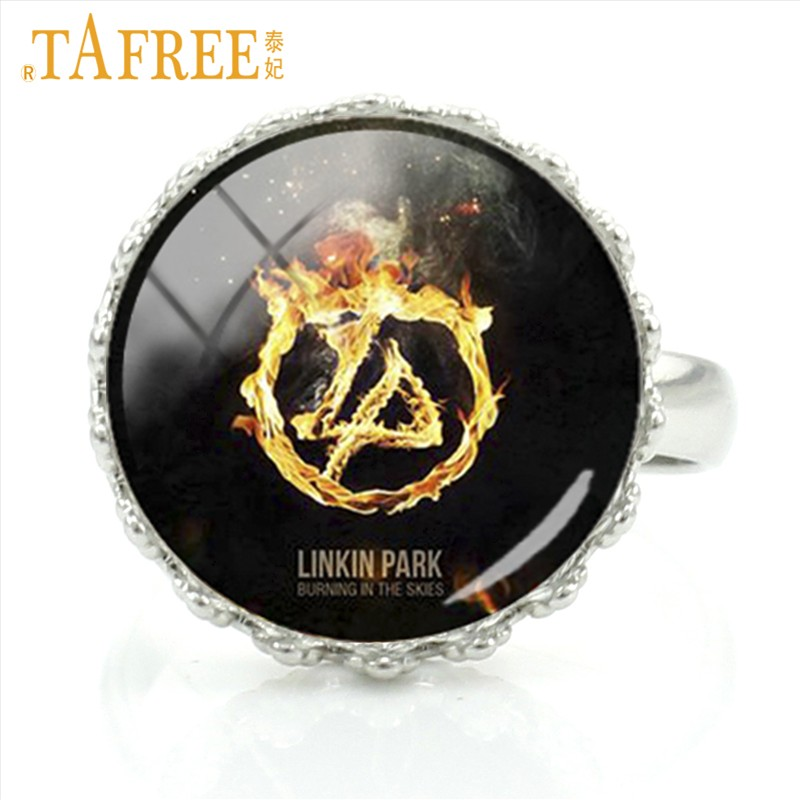 Tafree Rock Band Linkin Park Rings Send For Music Lover Fans Fashion Vintage Handmade Art Picture Glass Trendy Jewelry Lk03