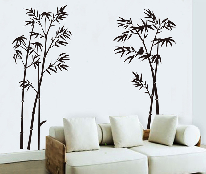 Free Shipping Large Removable Living Room Bedroom TV Backdrop Black Bamboo  Mural Decal Wall Stickers Vintage Home Decor JM7137 In Wall Stickers From  Home ...