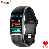 Vwar P11 ECG+PPG Smart Band Blood Pressure HR Monitor Smartband Fitness Tracker Watch Pedometer Smart Bracelet For IOS Android