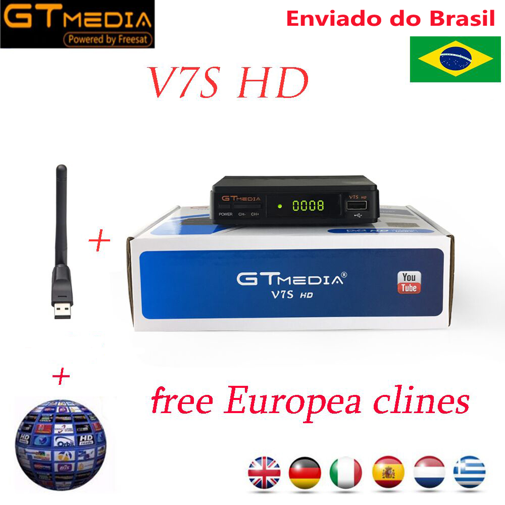 Offre spéciale récepteur TV Satellite Gtmedia V7S HD Support récepteur Europe Cline pour espagne DVB-S2 décodeur Satellite Freesat V7 HD
