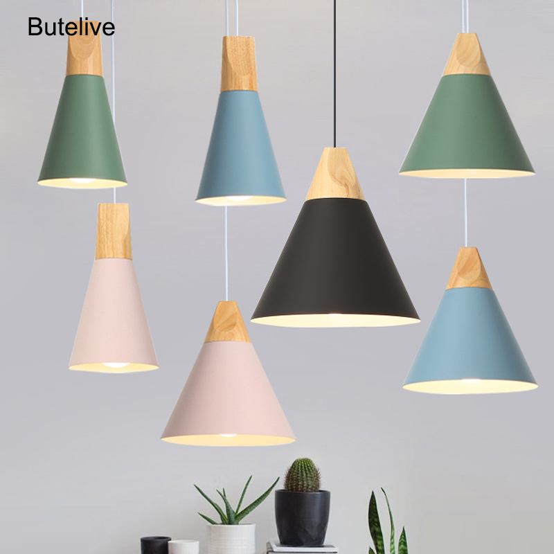 Led Pendant Lights Modern Dining Room Pendant Lamps Wood Nordic Lamp Colorful Hanglamp Restaurant Coffee Bedroom E27 Led Light
