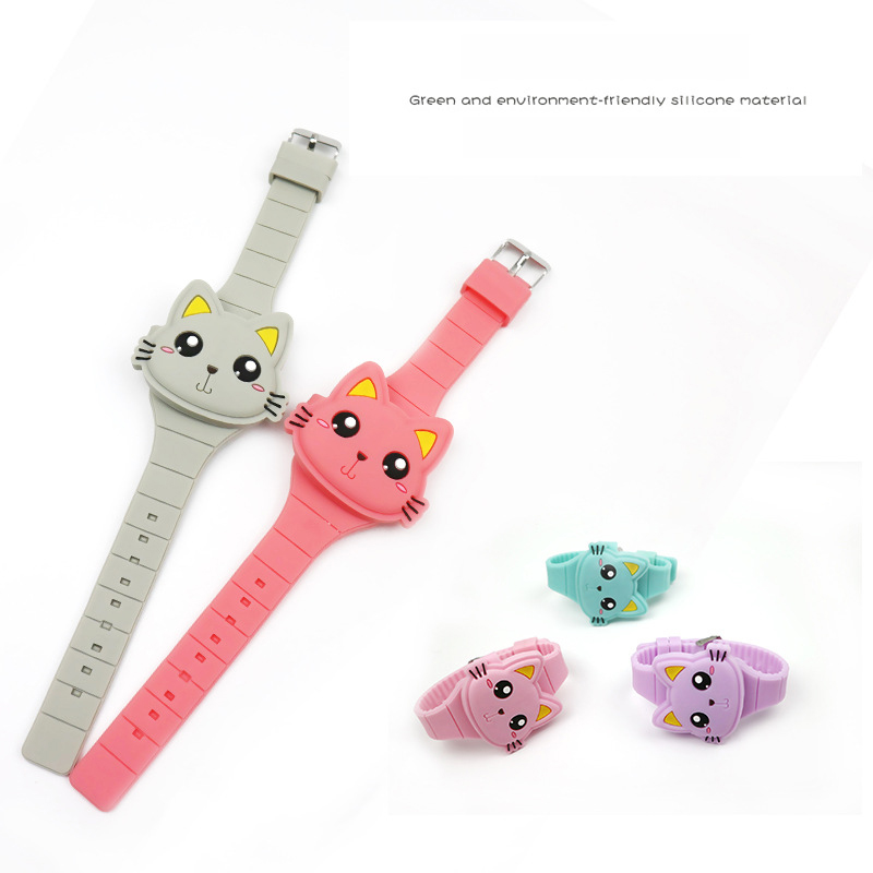 Lovely Cat Children Watch 3D Cartoon Animal Kids Silicone Flap Wristwatch Boys Girls Baby Watches Gift  With Lovely Package Box