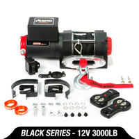 12v Electric Winch 3000lb Dyneema Synthetic Rope ATV ,Off Road BLACK Electric Winch