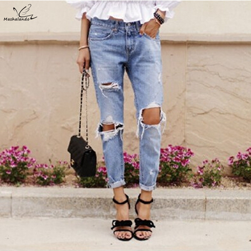 Hot Fashion 2018 Casual Holes Ripped   Jeans   For Women Denim Blue Trousers Female Retro Denim Korean Style Pencil Pants S M L