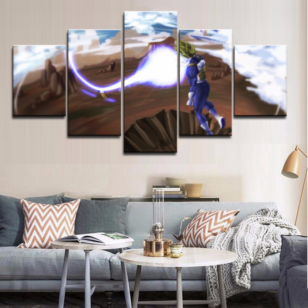 Canvas Painting 5 Pieces Modern Wall Art Animation Poster Dragon Ball Z Home Decor For Children's Room Modular Pictures Artwork