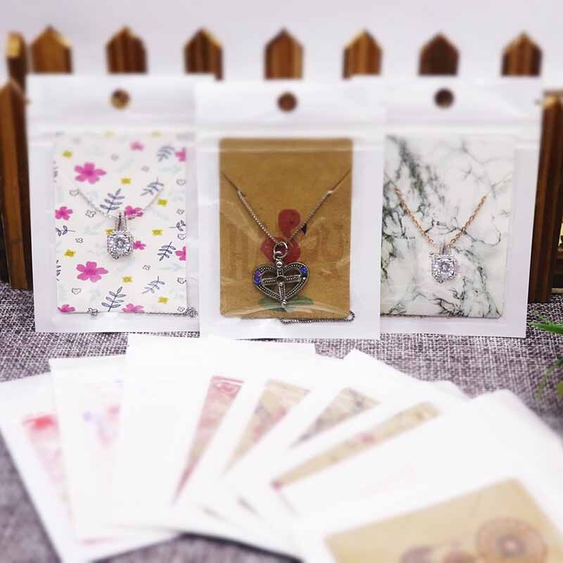 New Arrival 20pcs Cards+20pcs Zip Bags White/kraft Paper Necklace Pendant Packaging Card Sweet Love Jewelry Charms Display Card