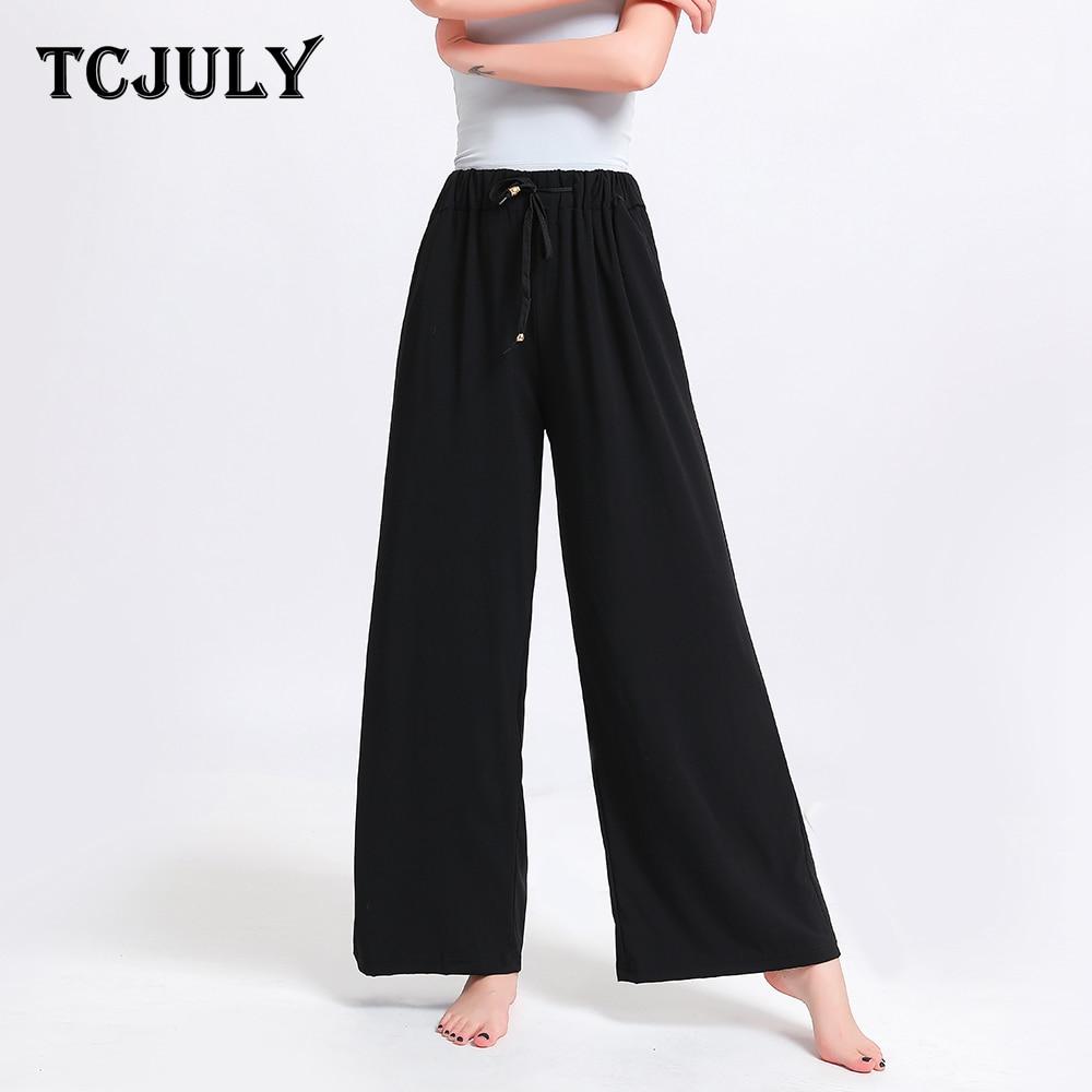 TCJULY Summer 2019 New Fashionable Rayon High Waist Wide Leg Pants Plus Size Drawstring Trousers Pockets Print Loose Pants Women