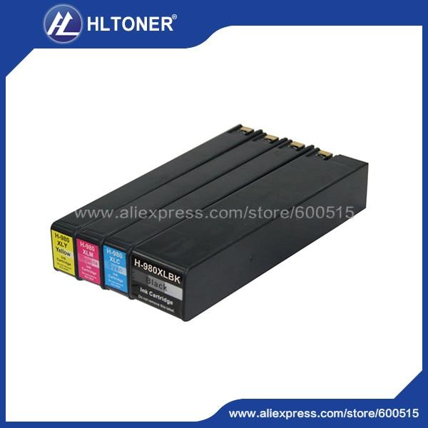 4pcs  ink cartridge 980XL Compatible hp Officejet Enterprise Color X555dn Printer/X555xh X585dn MFP X585f MFP/X585z MFP for hp 980 permanent cartridge chip not show ink level for hp980 x585dn x585f x585z x555dn x555xh printer