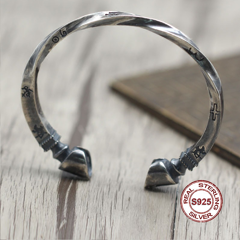 S925 Sterling Silver Bracelet Simple and generous retro Personality couple style Unique to create twisted horseshoe shape gift