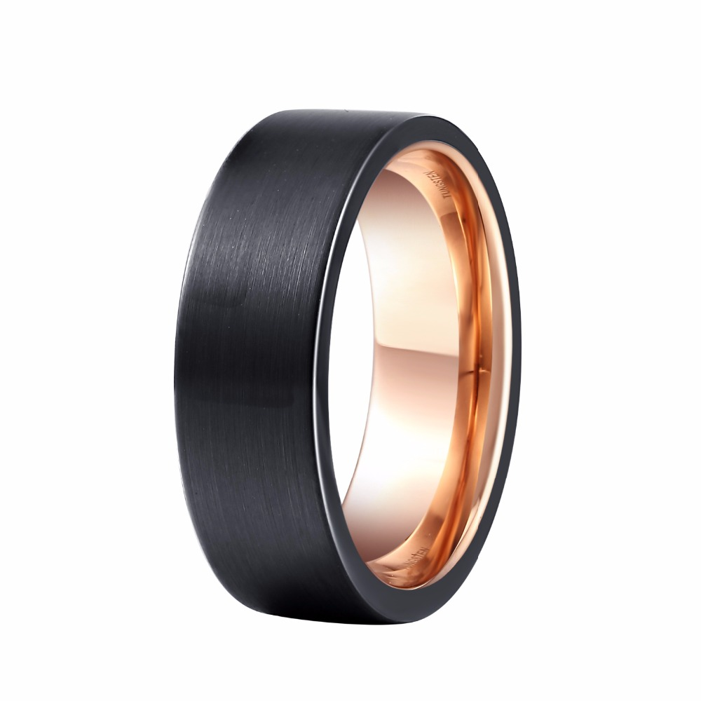 8mm Men S Wedding Band Black Rose Gold Color Tungsten Ring Brushed