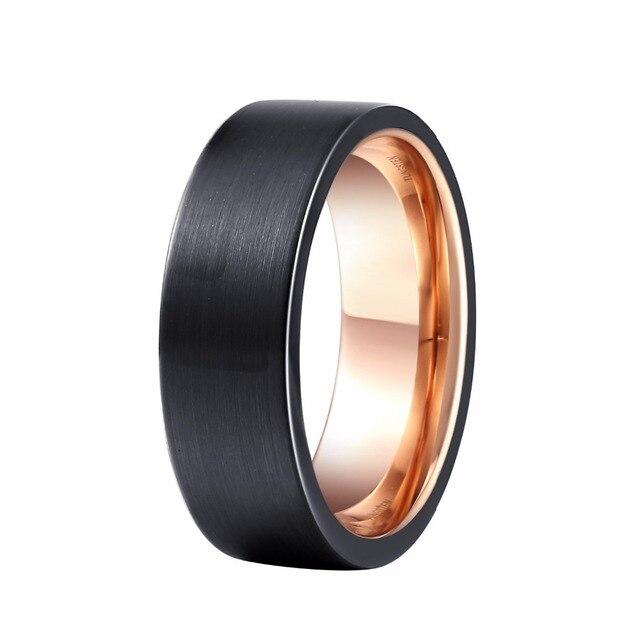 ad3b2b1f794c 8mm hombres banda de boda negro Rosa oro color tungsteno anillo cepillado  superficie mejor aniversario regalo