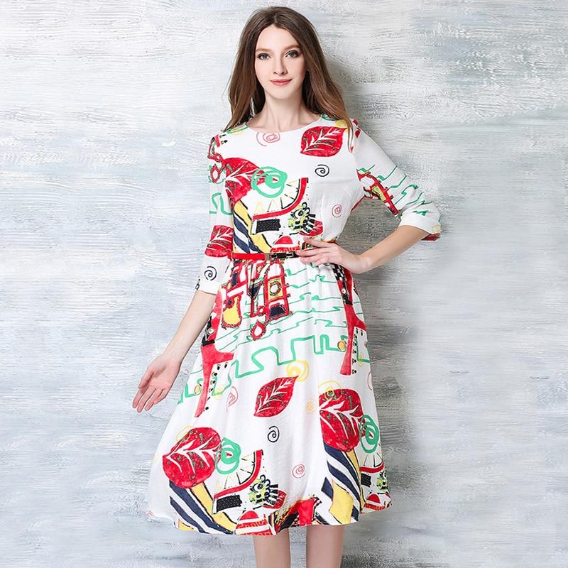 4dcbbc5f864ef 2016 جديد وصول الصيف ملابس الجدة الكرتون الطباعة س الرقبة الفساتين النسائية  الأزياء سطر سليم vestidos حزام OM619