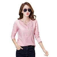 2017 Autumn Summer V Neck Leisure Pink Slim Long Sleeve Chemise Femme Korean Linen Stitching Tops