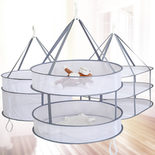 купить New Practical S Hook Drying Rack Folding Hanging Clothes Laundry Basket Dryer Net Double-layer Wash Drying Socks Clothes Basket дешево