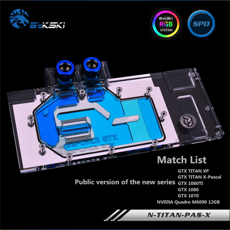 Bykski Full Coverage GPU Water Block For GTX1080 1080ti Titan XP TITAN X Graphics Card Water